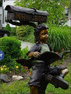Mailbox Boy | Bronze Children Statues & Children Sculptures | Garden Statues | Garden Sculptures | The Large Art Company