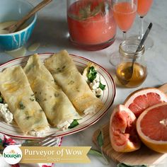 Baby shower brunches are the best. Make crepes with Boursin and a grapefruit mocktail for the mother-to-be.
