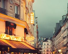 Paris Cafe at Night Neon Lights in St by EyePoetryPhotography (Art & Collectibles, Photography, Color, Night, Paris, Orange, Green, Neon, Paris Photography, Paris Decor, St Germain Des Pres, St Germain Paris, Paris Cafe, Paris Night, Paris Street)