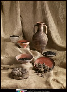 One of the amazing finds from Herculaneum: preserved food from 79CE. Pottery and carbonized food: bread, peas, figs, fava beans, wheat, and chickpeas from Herculaneum: Art of a Buried City.