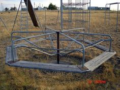 All the toys on the playground were metal.  Boy did they get hot! And this thing could get you you spinning. There was always one whimp that started crying too. LOL