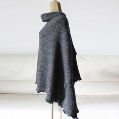 Wool poncho, black wool cape, symmetric wool coat, gift for her
