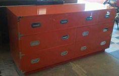 Campaign Mid Century Modern Dresser Lacquer Orange