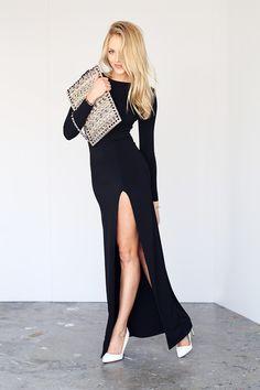 long black dress with white heels? i think yaasss