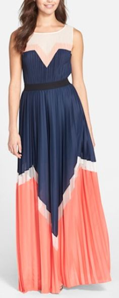 navy and coral color block pleated maxi dress