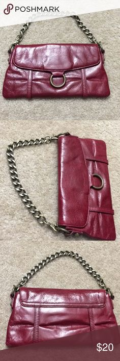 Hobo mini red distressed leather chain link purse Bag is in excellent basically unused condition measures 9x5 the chain comes off to carry it as a clutch or you can attach the chain to the same side and carry it as a Wristlet. Smoke free home check out my other listings HOBO Bags Mini Bags