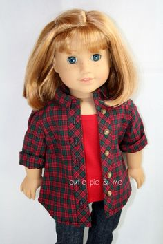 "red, black, green plaid shirt with roll up sleeves fits 18"" dolls such as American Girl. $16.00, via Etsy."