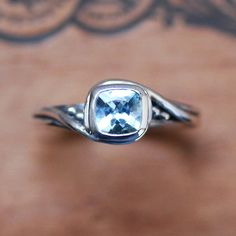 Aquamarine engagement ring non diamond engagement ring