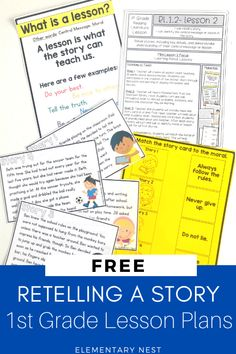 Plan out a 1st grade lesson plan activity for free. Sign up and get a free retelling lesson plan sent right to your inbox. This will be a great reading activity for first graders. This is a common core aligned and standards-based lesson plan for story elements which is RL.1.2. Fluency Activities, First Grade Activities, Grammar Activities, Reading Activities, Educational Activities, Teaching Reading, Guided Reading, Common Core Ela, Free Teaching Resources