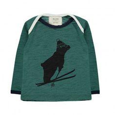 T-Shirt Ours Ski Tout Schuss Vert foncé Blune Kids