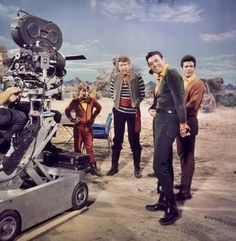 Behind the scenes, on the 1960's television series, LOST IN SPACE (original vintage image density adjusted).