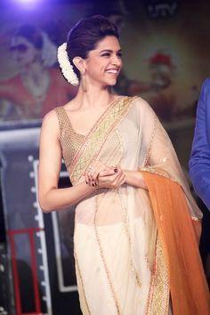 Deepika Padukone looking graceful in an organza silk sari. Bridelan - a personal shopper & stylist for weddings. Website www.bridelan.com #Bridelan