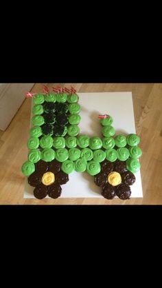 Traktor kage af muffins