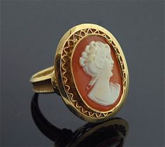 Antique Cameo Ring  14k Yellow Gold and Carved by SITFineJewelry, $1275.00