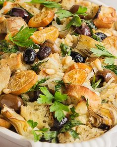 This is the STUFFING dreams are made of! A twist on a classic made with all those great Mediterranean flavors.