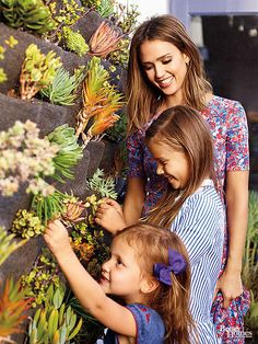 An herb and succulent wall garden is the perfect place to grab spices for the home-cooked family dinners Jessica insists on three nights a week.