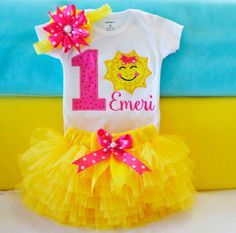 You are my sunshine 1st birthday outfitGirls Yellow por KidsFunLand