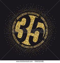 Thirty five years anniversary celebration logotype. 35th anniversary logo.