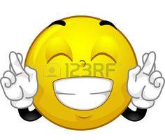 Mascot Illustration eines Smiley Crossing seine Finger für Glück photo