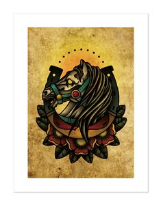 Lucky Horseshoe Horse Neo-Traditional Tattoo Flash by BlackMast