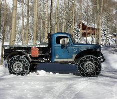 Power Wagon with tire chains in the snow