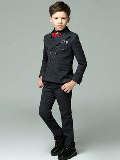 Boy's Stripe Suit Set Double-breasted Coat&Pant&Shirt&Cravat