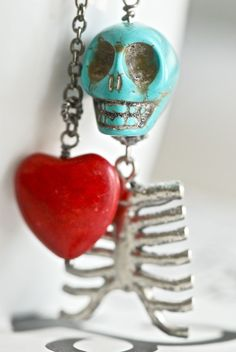Eternity Necklace Day of the Dead TURQUOISE by blackpersimmons