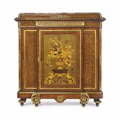 A FRENCH ORMOLU-MOUNTED KINGWOOD, BOIS SATINE, SYCAMORE AND FRUITWOOD MARQUETRY AND PARQUETRY MEUBLE A HAUTEUR D'APPUI -  BY GUSTAVE-FREDERIC QUIGNON, RETAILED BY MAISON BAILLY, PARIS, CIRCA 1900.