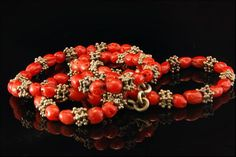 Vintage Chinese Red Coral Beads Silver Necklace by SummitTreasures