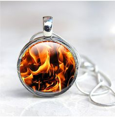 Fire Necklace, Fire Flame Pendant Necklace - flames, hot elemental jewelry, Pendant Necklace, Picture Photo pendant, orange, black, Glass