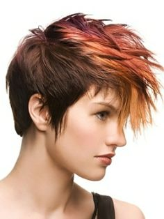 rock it! love the color put in the top to emphasize the cut. pretty much a twist to a mowhawk/fohawk