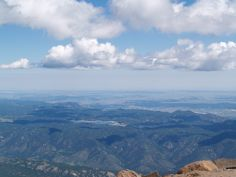"""""""i can see for miles and miles"""" from Pike's summit, overlooking Colorado Springs."""