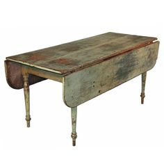 Verdigris Green Dropleaf Farm Table