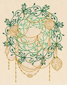 Deck the halls with this lovely, intricate wreath design, draped with ornaments and garlands!
