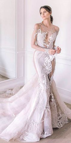 Gorgeous Tattoo Effect Wedding Dresses ❤ See more: http://www.weddingforward.com/tattoo-effect-wedding-dresses/ #weddings #weddingdress