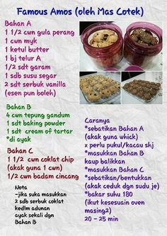 Amos Cookies, Biscuit Cookies, Biscuit Recipe, Cake Cookies, Resepi Cookies, Cookie Recipes, Dessert Recipes, Macaroon Cookies, Malaysian Food