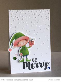 Santa's Elves, Joyous Christmas Sentiments, Christmas Elves Die-namics, Snowfall Stencil - Alice Wertz  #mftstamps