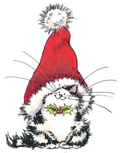 "Jolly Xmas Kitty Penny Black Rubber Stamp 3.5""X4.5"" 1516K 1516K"