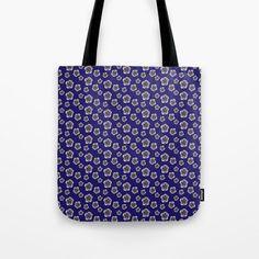 Flower print design - tote bag Cotton Tote Bags, Reusable Tote Bags, Flower Prints, Zipper Pouch, Flower Patterns, Blue Flowers, Pouches, Print Design, Yellow
