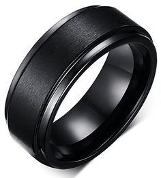 King Will 8mm Black High Polish Tungsten Men's Wedding Ring Comfort Fit Matte Finish Engagement Band