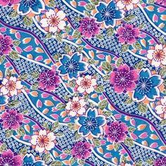 Papier Japonais Washi, sérigraphie de fleurs bleues, blanches et violines - Adeline Klam