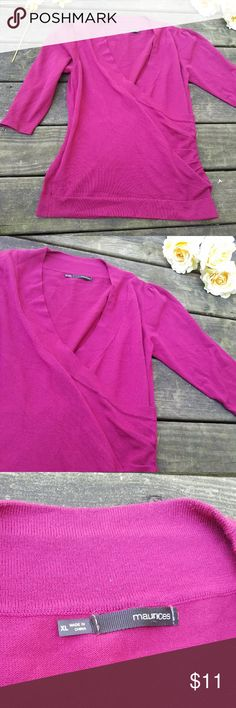 $Maurices wrap magenta sweater$ This is a beautiful color and a flattering cut. Wear with jeans and boots for a great cozy look! Perfect for workwear! Maurices Sweaters V-Necks