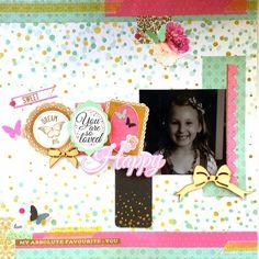 Kaisercraft : All That Glitters collection: Happy layout by Amanda Baldwin