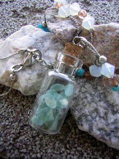 Genuine Beach Sea Glass TINY AQUA Vial Small Glass Bottle Jewelry Pendant Jar Jewelry, Bottle Jewelry, Bottle Charms, Bottle Art, Sea Glass Jewelry, Pendant Jewelry, Jewelry Crafts, Jewelry Making, Jewelry Ideas