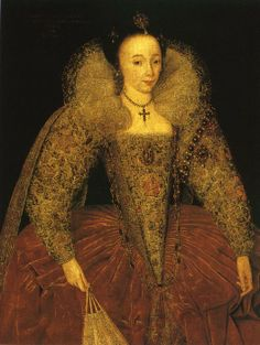 Lady Eleanor Herbert (at Powis Castle) by an Unknown Artist, 1595. Lady Eleanor was the daughter of Henry Percy, 2nd Earl of Northumberland and Katherine Neville, daughter of the 4th Baron Latimer (stepson of Queen Katherine Parr). She married William Herbert, 1st Baron Powis, son of Sir Edward Herbert, before 1600 (nephew of Queen Katherine). She died in 1650.