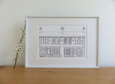 black and white sketch, houses sketch, victorian terrace art print