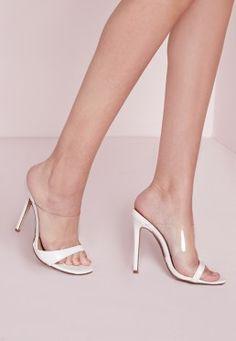 Perspex Strap Mule Sandals White