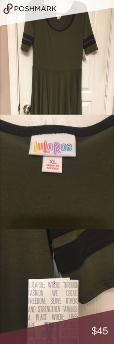 Lularoe Army Green Nicole Dress!! Army green Nicole dress from Lularoe. Brand new with tags! So cute but doesn't fit me right and I can't return it. Black stripes on the arms and black lining around the neck LuLaRoe Dresses Midi