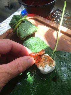 Geitenkaas met wat aceto basamico, een beetje tijm en een dadel, verpakt in een vijgenblad. En hop op de bbq!! Dat is lekker! :-)