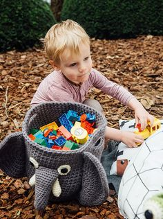 "Pattern in ""Crochet Kids' Bags"" book by Chabepatterns // A cute dino backpack to guard your lunch, soft pajama keepers to stash your PJ's away for the night, a two-sided pencil case to store your multi-colored pens, a soft bag to put your favorite toys away for the next day ... A child's life is filled to the brim with different activities and outings, and what better way to keep it all organized than with cute and soft amigurumi bags?"